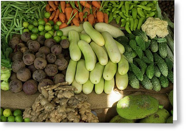 Close-up Of Vegetables For Sale On Main Greeting Card