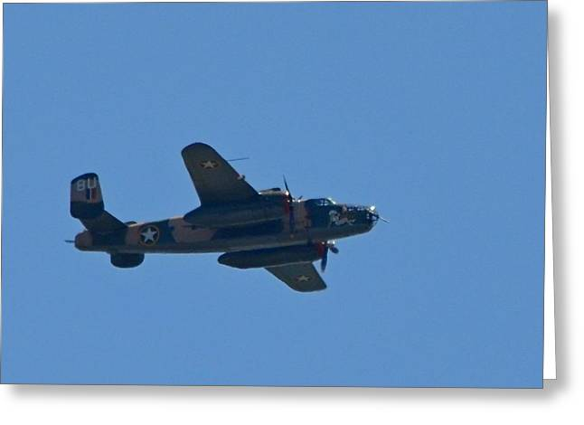 Close Up Of Yellow Rose Wwii B25 Bomber Over Florida 21 April 2013 Greeting Card