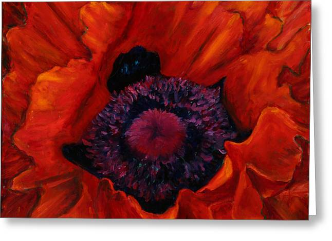 Close Up Poppy Greeting Card by Billie Colson
