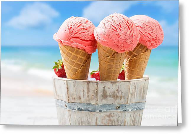Close Up Strawberry Ice Creams Greeting Card by Amanda Elwell