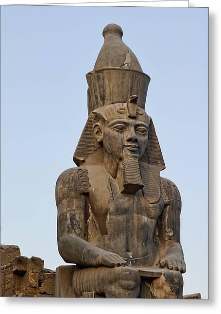 Close View Undamaged Pharaoh Sculpture Greeting Card