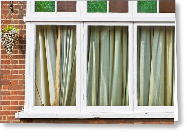 Closed Curtains Greeting Card by Tom Gowanlock