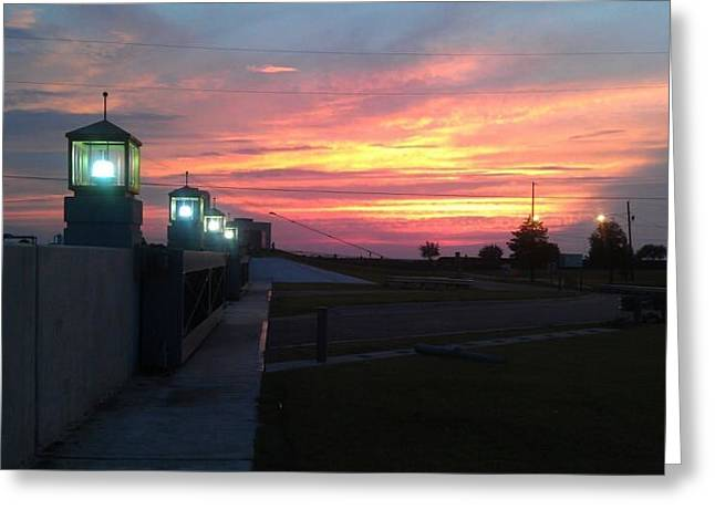 Closed Flood Gates Sunset Greeting Card