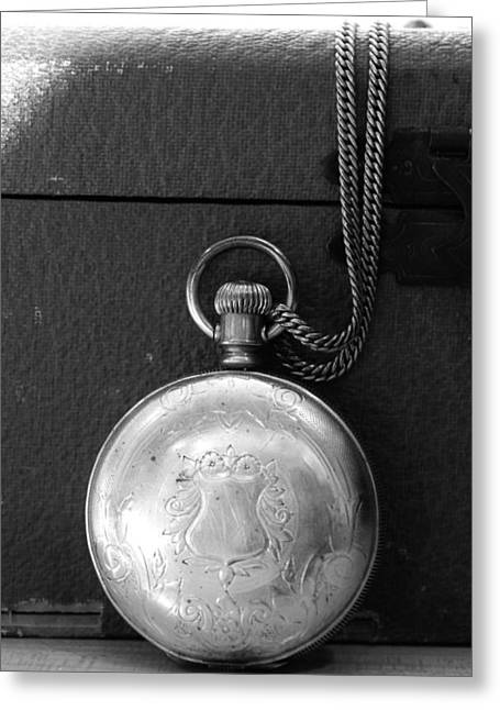 Closed Pocket Watch In Black And White Greeting Card by CJ Rhilinger