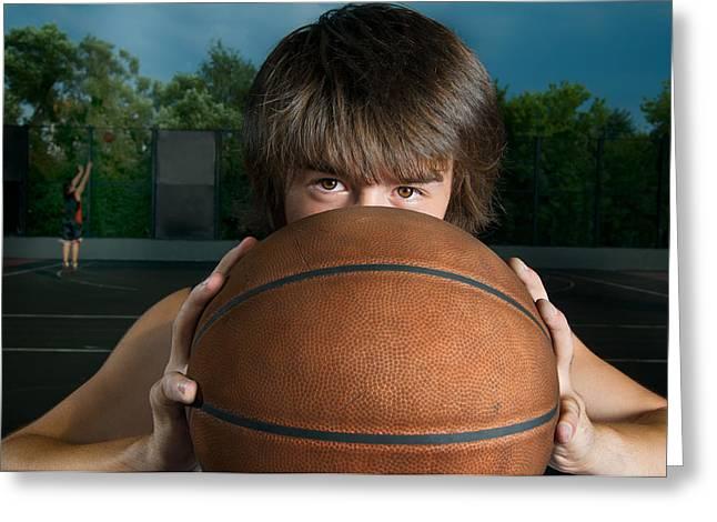 Closeup Of A Basketball Player Greeting Card by Nikita Buida