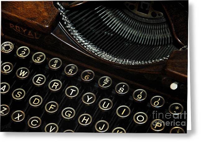 Closeup Of Antique Typewriter Greeting Card by Amy Cicconi