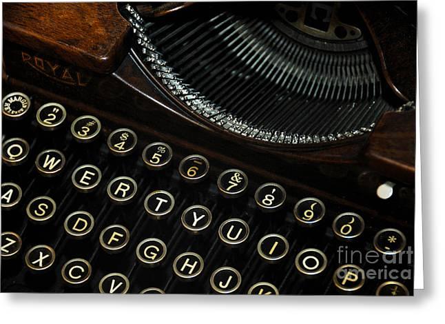Closeup Of Antique Typewriter Greeting Card