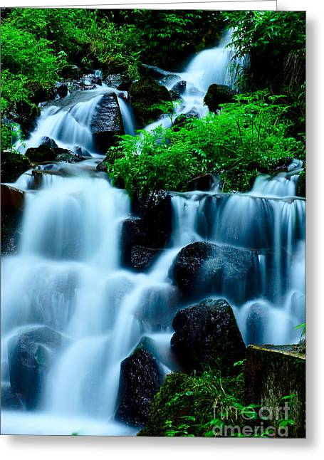Closeup Of Beautiful Waterfall In Karuizawa Japan Greeting Card