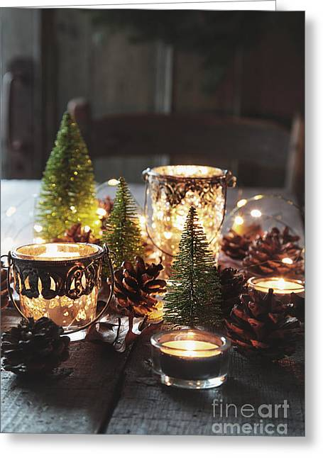 Greeting Card featuring the photograph Closeup Of Candles And Decorations For The Holidays by Sandra Cunningham