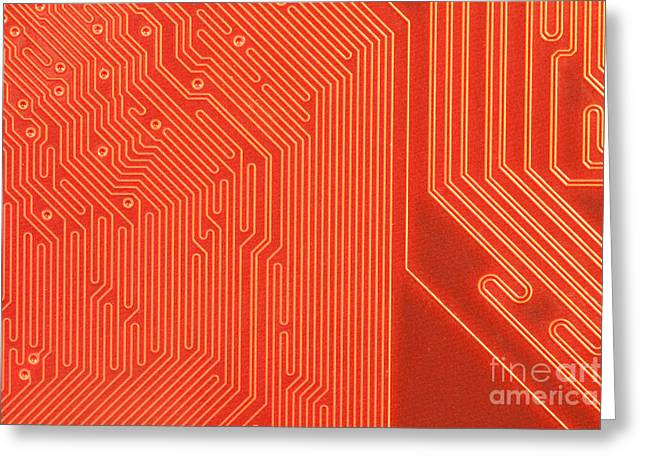 Closeup Of Computer Circuit Board In Orange Greeting Card by Stephan Pietzko