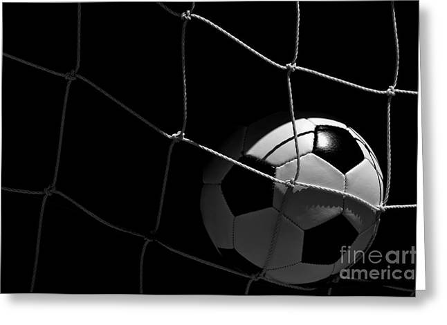 Closeup Of Soccer Ball In Goal Greeting Card