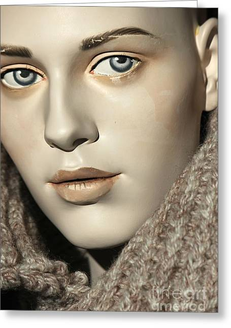 Closeup On Mannequin's Face Greeting Card by Sophie Vigneault