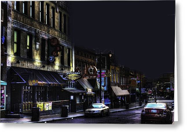 Memphis - Night - Closing Time On Beale Street Greeting Card by Barry Jones