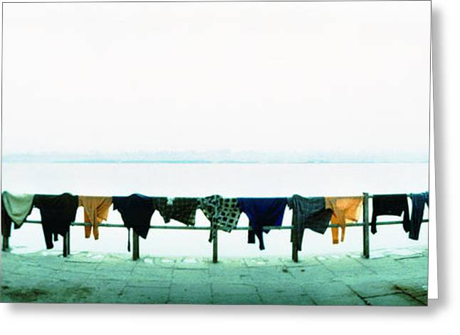 Clothes Drying At The Riverbank, Ganges Greeting Card
