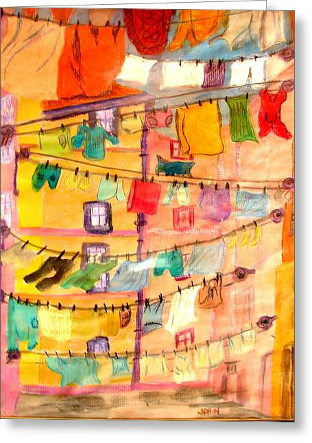 Clothes Line Greeting Card by Joseph Hawkins