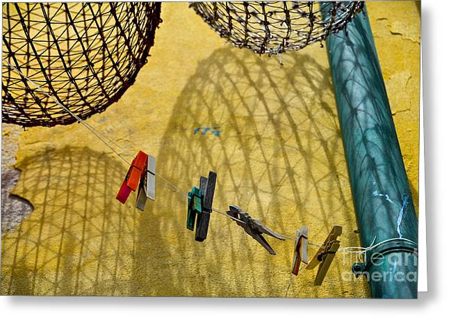 Clothesline And Fish Traps Greeting Card by Amy Fearn