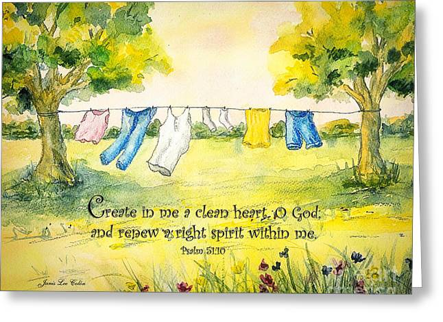 Clothesline Psalm 51 Greeting Card