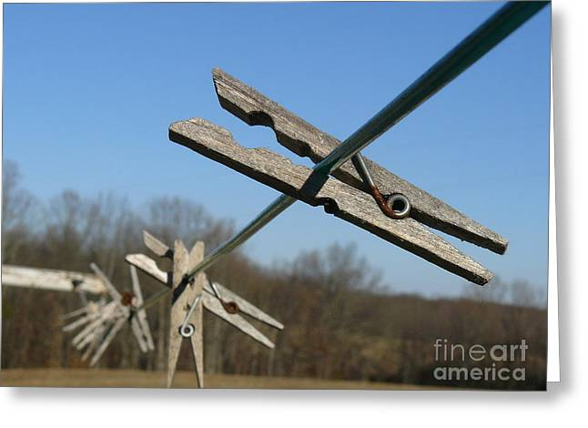 Greeting Card featuring the photograph Clothespin In Winter by Jane Ford
