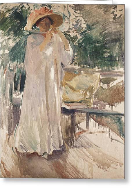 Clotilde In Her Garden Greeting Card