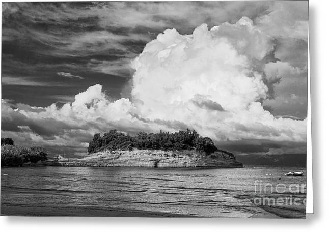Cloud Boat And Cliffs On Corfu Greeting Card by Paul Cowan