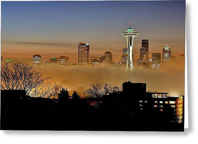 Cloud City Seattle Greeting Card by Benjamin Yeager