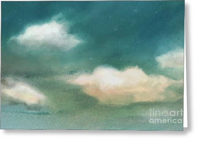 Cloud Diptych Left Greeting Card by Joan A Hamilton
