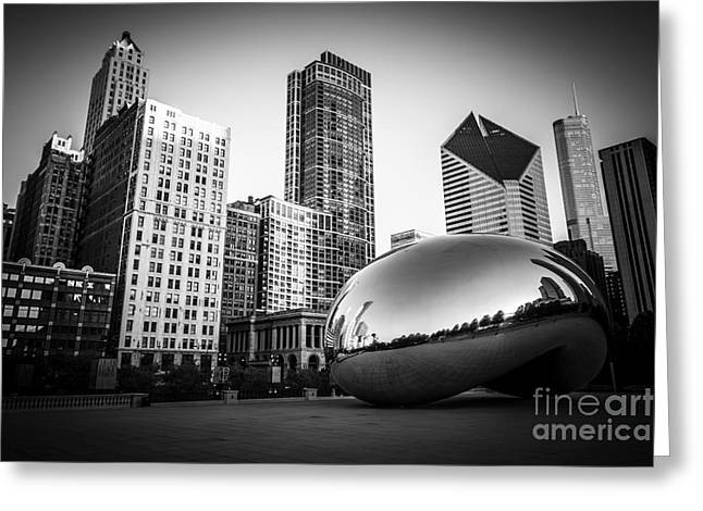 Cloud Gate Bean Chicago Skyline In Black And White Greeting Card