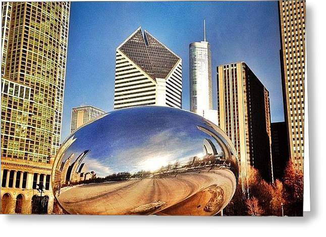 Cloud Gate chicago Bean Sculpture Greeting Card