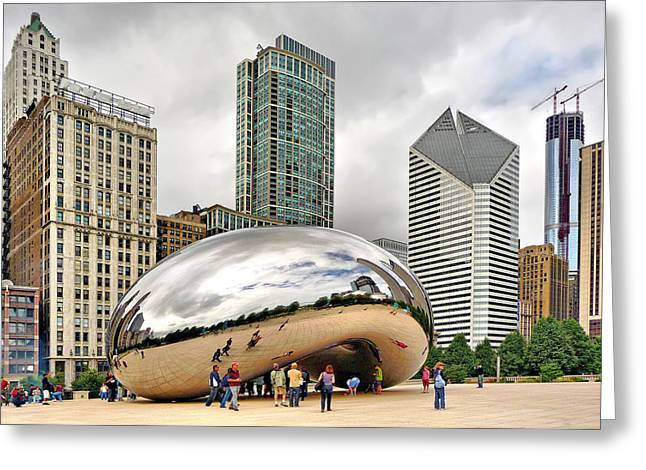 Cloud Gate In Chicago Greeting Card by Mitchell R Grosky