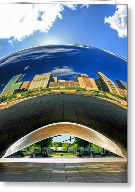 Cloud Gate Under The Bean Greeting Card by Christopher Arndt