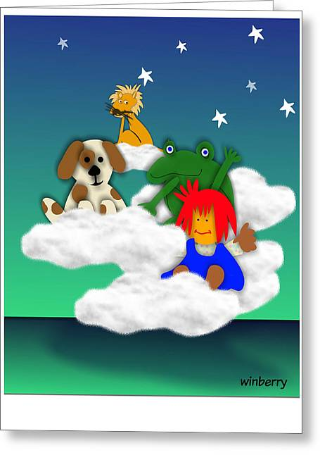 Cloud Kids Greeting Card by Bob Winberry