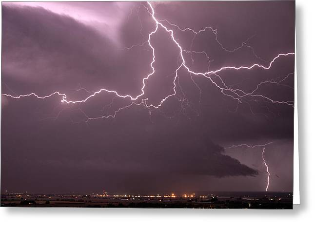 Cloud Lightning Greeting Card by Leland D Howard