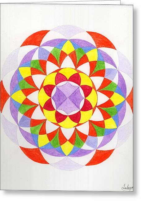 Cloud Mandala Greeting Card by Silvia Justo Fernandez