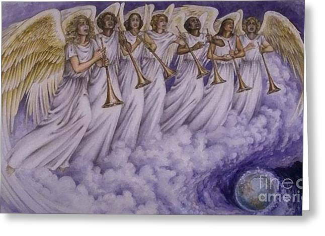Cloud Of Seven Archangel Greeting Card