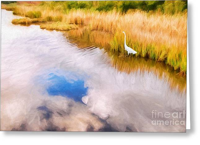 Cloud Reflection In Water Digital Art Greeting Card by Vizual Studio