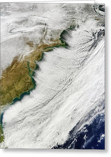 Cloud Streets Over Us East Coast Greeting Card by Nasa