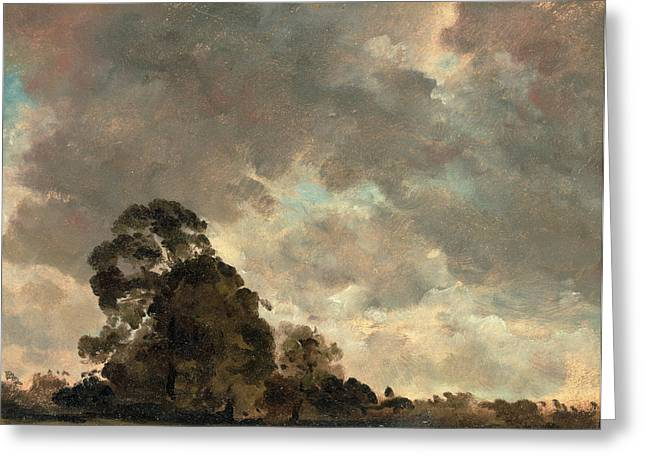 Cloud Study Landscape At Hampstead, Trees And Storm Clouds Greeting Card by Litz Collection