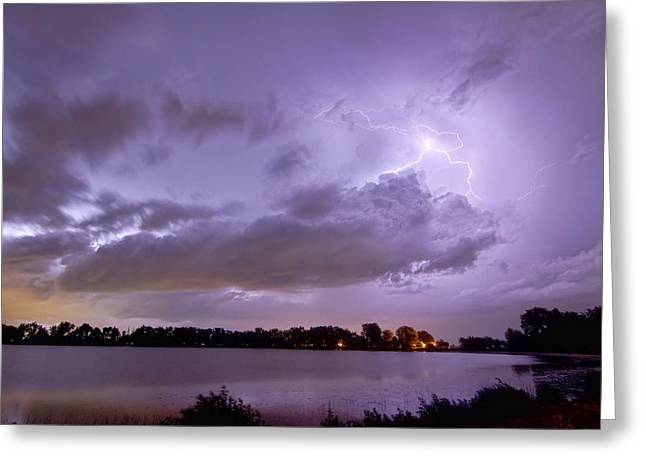 Cloud To Cloud Lake Lightning Strike Greeting Card by James BO  Insogna