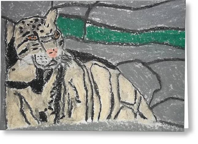 Clouded Leopard Pastel On Paper Greeting Card by William Sahir House