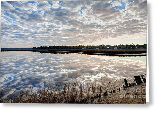 Clouded Reflection Greeting Card by Joan McCool