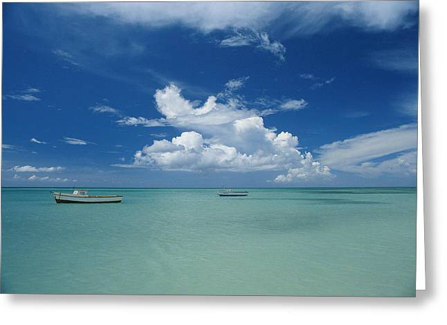 Clouds And Boats, Aruba Greeting Card by Skip Brown