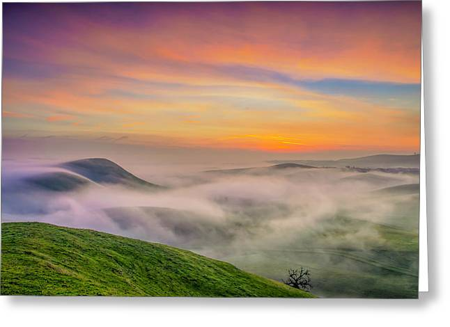 Clouds And Fog At Sunrise Greeting Card