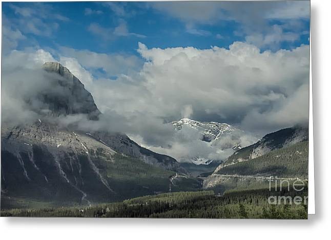 Clouds And Mist Over Canadian Rocky Mountain Peaks Greeting Card by Gerda Grice