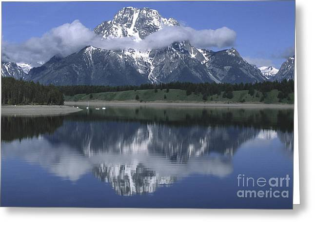 Clouds And Mt. Moran - Grand Teton Greeting Card by Sandra Bronstein