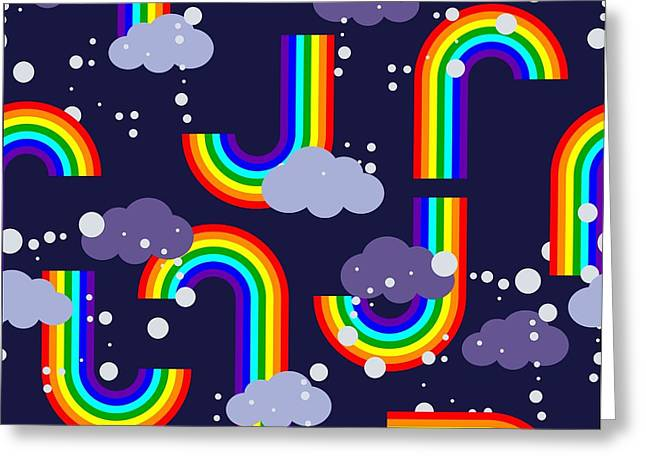 Clouds And Rainbow Cartoon Wallpaper Greeting Card