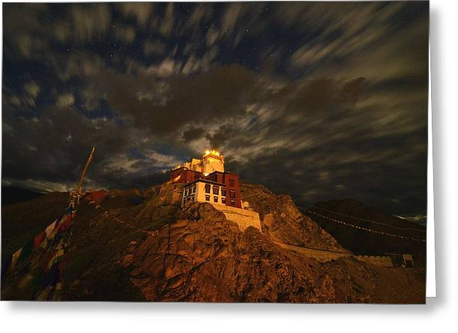 Clouds And Stars Over Tsemo Greeting Card by Aaron Bedell