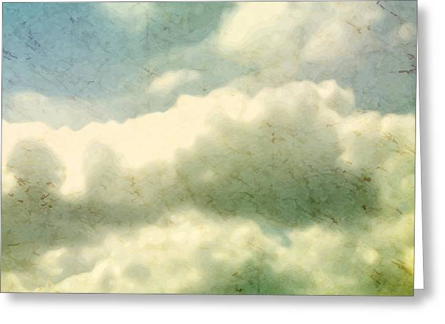 Clouds. Grungy Vector Illustration Greeting Card