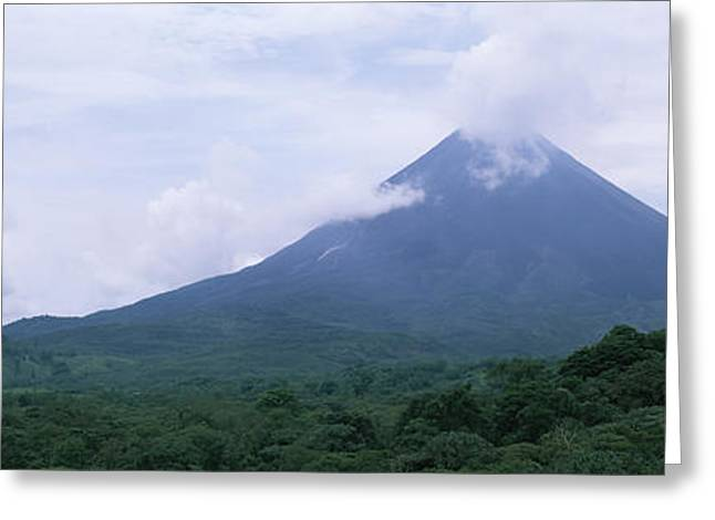 Clouds Over A Mountain Peak, Arenal Greeting Card by Panoramic Images