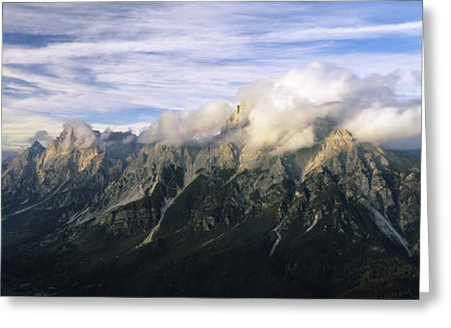 Clouds Over A Mountain Range, View Greeting Card