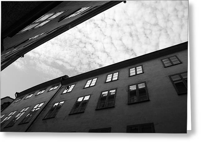Clouds Over A Narrow Alley - Monochrome Greeting Card by Ulrich Kunst And Bettina Scheidulin